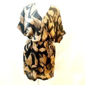 NWT Bar III Black / Gold floral wrap dress, Small
